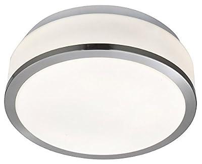 Satin Chrome & Opal Glass 2 x 60watt Stylish 23cm Bathroom Ceiling Light by Haysom Interiors