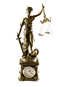 LGI Lady Justice Blind Scale of Justica Bronze Statue with Clock