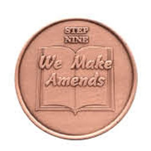 Step 9 Copper Commemorative AA (Alcoholics Anonymous) - Sober / Sobriety / Recovery / Medallion / Coin / Chip - 1