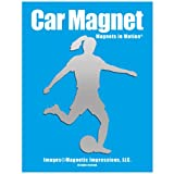 Soccer Female Car Magnet (Chrome)