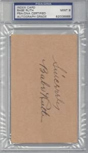Babe Ruth Autographed Hand Signed 3x5 Index Card PSA DNA Slabbed Mint 9 #82008989 by Hall of Fame Memorabilia