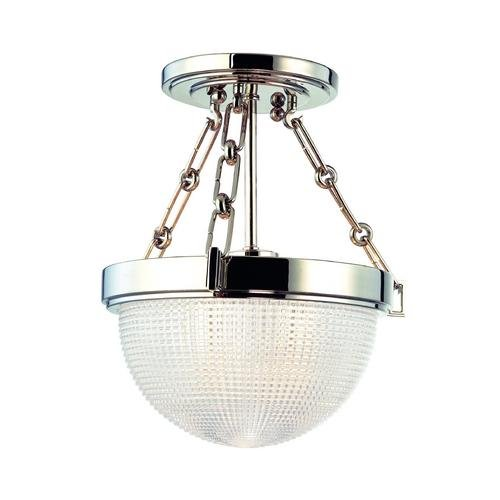 Hudson Valley Lighting 4409-Sn 1-Light Winfield Semi Flush, Satin Nickel Finish With Clear Glass front-1016712