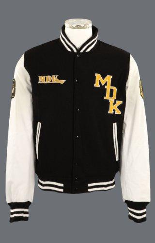 MDK Mens Leather Jacket Striker (Leather & Wool) Black/White Large