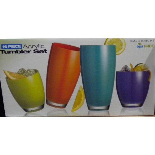 Acrylic Tumbler Set (16 pieces) - bpa FREE, Top Rack Dishwasher Safe.