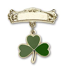 14kt Gold Baby Badge with Shamrock Charm and Arched Polished Badge Pin