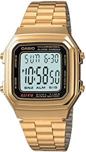casio large display digital gold retro with led
