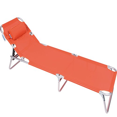 Lettino Massaggi Brandina Prendisole colore ARANCIONE in alluminio Reclinabile a 5 Posizioni, Pieghevole, 2 in 1, ideale per Mare Campeggio Giardino Piscina, Enrico Coveri
