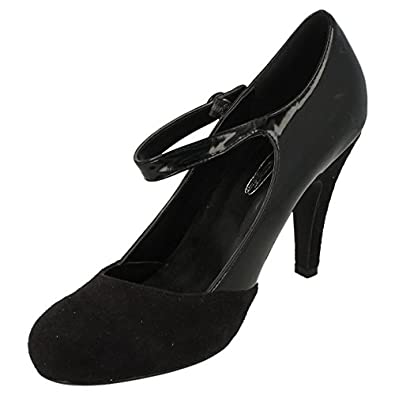 Spot On Heeled Court with Button Bar Strap & Heel & Toe Contrast (Black, Size 7 UK)