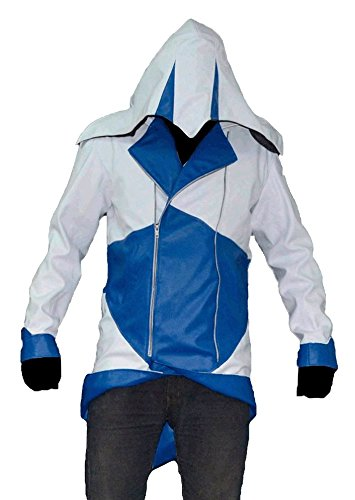 Nuova pelle sintetica Assassins Creed 3 III Conner Kenway Hoodie Giacca/cappotto = disponibile in tutte le taglie White & Blue Small