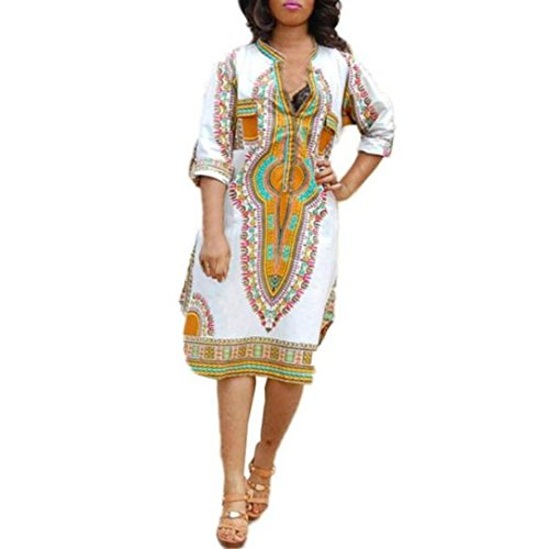 Fortan Profonde vestiti da partito di stampa del nuovo delle donne casuali di estate V-Neck tradizionale africana (x-large)