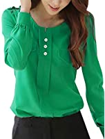 Allegra K Women Split Neck Pullover Long Sleeve Button Decor Ruched Shirt