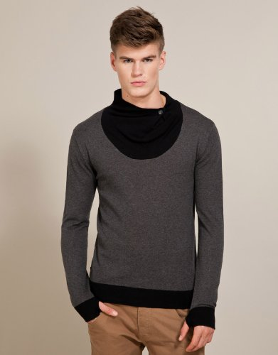Crafted Elvis Knit Jumper - Dark grey - Mens - Large