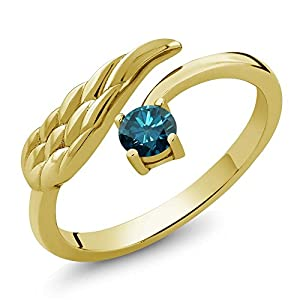 0.27 Ct Round Blue Diamond 18K Yellow Gold Plated Silver Wing Ring