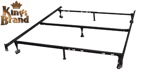 Heavy Duty 7-Leg Adjustable Metal Queen, Full, Full XL, Twin, Twin XL, Bed Frame With Center Support, Rug Rollers & Locking Wheels