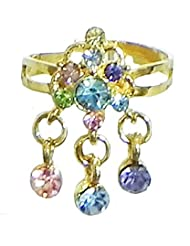Blue And Pink Stone Studdd Adjustable Ring - Stone And Metal