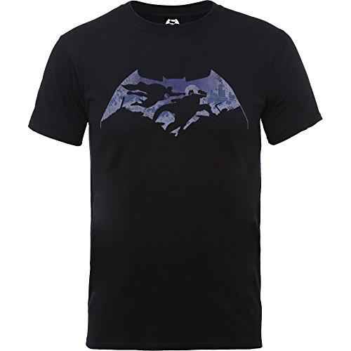 DC Comics Uomo Batman v Superman Battle Silhouette Maglietta Large Nero