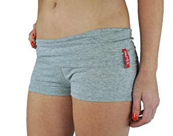 Active Basic Dance or Yoga Fold Down Hot Shorts Lots of Colors! (Small, Light Heather Grey)