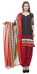 Divyaemporio Women'S Faux Cotton Black And Red Salwar Suits Dress Material