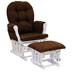 Storkcraft Hoop Glider and Ottoman, White and Chocolate Make Feeding Easier on You and Your Baby