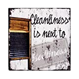 Cleanliness Is Next To Godliness Washboard Sign