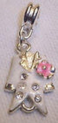 Glamorise Beads #13778 Tuxedo Jacket Wedding Groom White Pink Dangle Bead for European Charm Bracelet