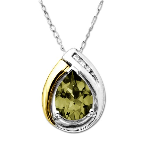 XPY Sterling Silver and 14k Yellow Gold Peridot Pendant Necklace 18