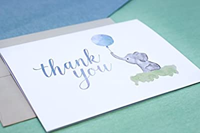 Beautiful Baby Shower Thank You Cards (Set of 10 Cards + Envelopes) - Watercolor Elephant & Blue Balloon - By Palmer Street Press
