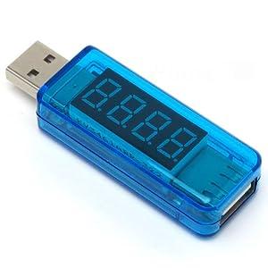 ルートアール USB 簡易電圧・電流チェッカー ストレート型 (3.4V~8.0V,0A~3A) RT-USBVA2