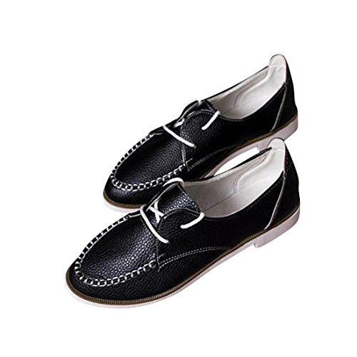 jeansian Moda Donna Casuale Pelle Scarpe Piatte Mocassini Loafers Shoes WSB006 Black 38