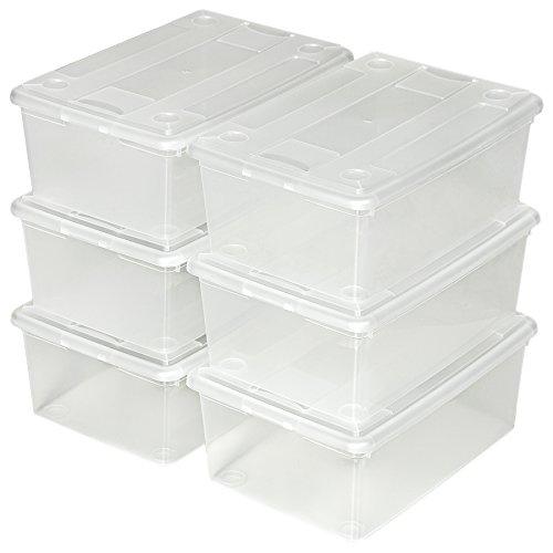 TecTake 6x Boîte transparente à chaussure avec couvercle rangement empilable stockage 33x23x12cm