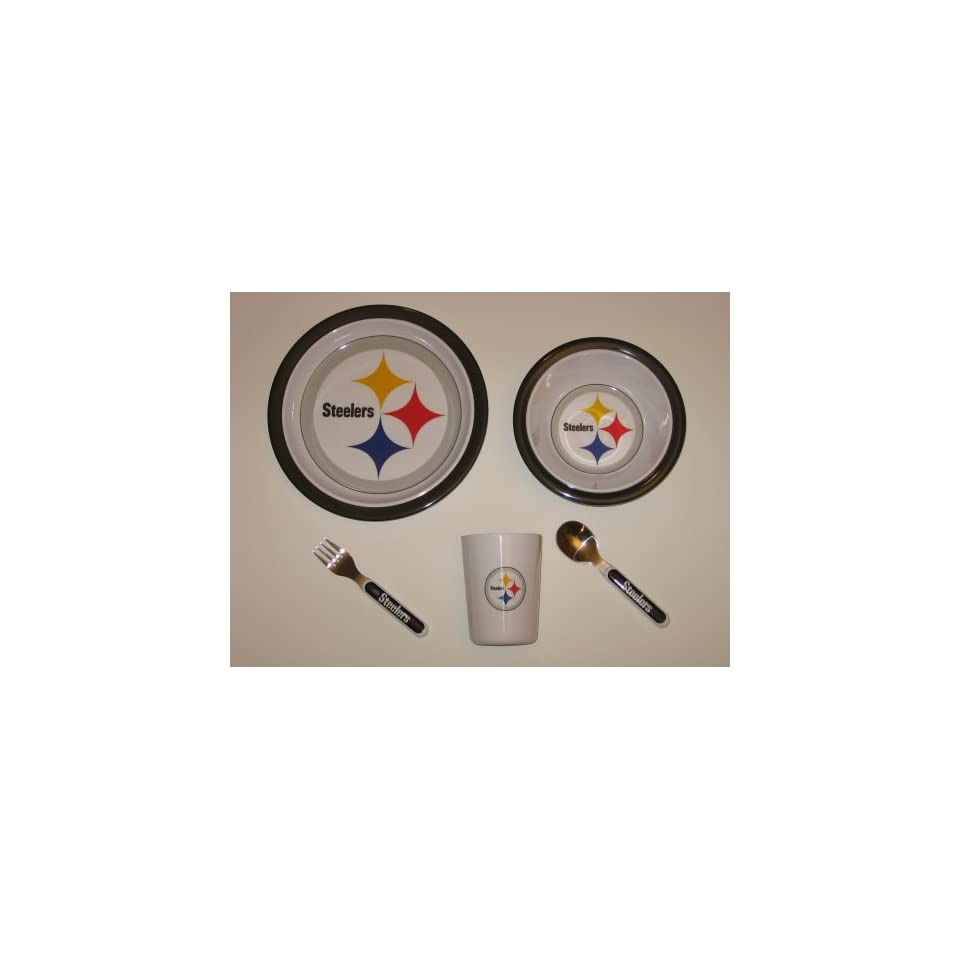 PITTSBURGH STEELERS Team Logo 5 Piece Baby / Child Dinner Set ( Sipping cup, Plate, Bowl, Fork, and Spoon )