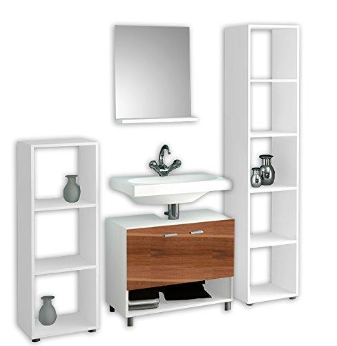 """VCM 4""""cristola Set di mobili da bagno, Bianco/core Noce"""