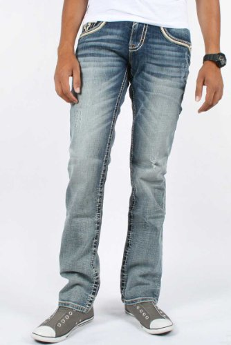 Rock Revival - Mens Tucker Alternative Straight Leg Jeans in Color A5, Size: 30, Color: Denim
