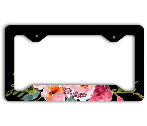 Personalizable car tag frame - Black with pink floral spray (Unusual License Plate Frames compare prices)