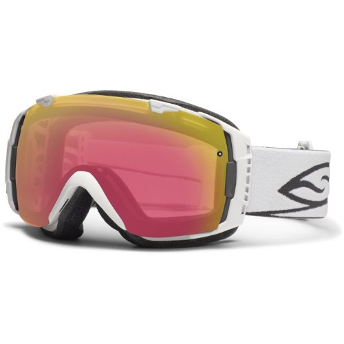 Smith Optics I/O Vaporator Series Snow Racing Snowmobile Goggles Eyewear – White/Red Sensor, Platinum Mirror / Medium