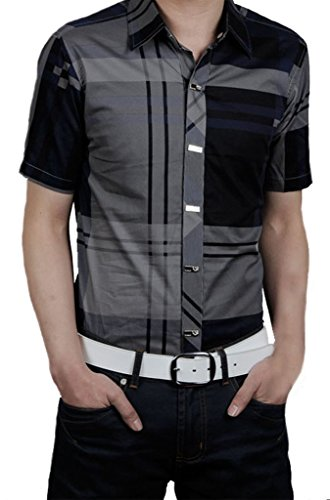 Slim Moda Uomo Gillbro Fit Tee shirts camice casuali camicetta, Marina, 6XL
