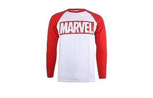 MARVEL Camiseta Manga Larga Logo (Blanco / Rojo)