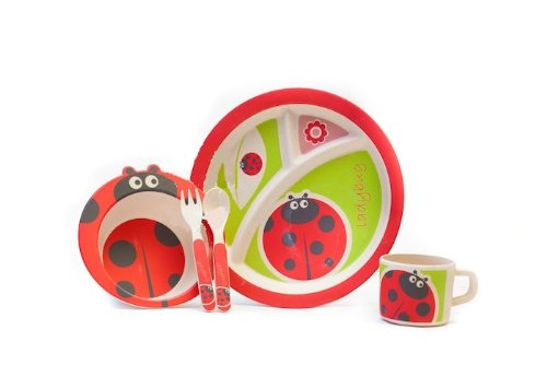 Bamboo Fiber Funny Kids Set Miss Lady Bug Bpa Free, Non-Toxic [Free Baby Meal Organic Supplement]