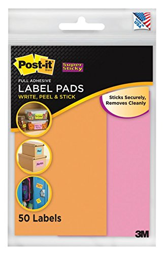 Post-it® Super Sticky Removable Label Pads, 2.875 x 4.62 Inches, Orange, Pink, 2 Pads, 50 Labels per Pack (2900-OP)