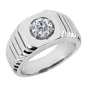 0.50 Ct Round G/H SI2/I1 Natural Diamond 925 Sterling Silver Men's Ring