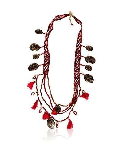 Alibey Collar largo cinta étnica con vueltas de abalorios y borlitas y piezas de metal grabado Fucsia