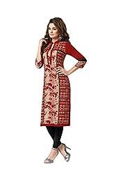 PADMiNi Ethnicwear Women's Kurti Fabric Red Free Size