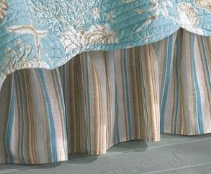 aqua-tan-stripes-natural-shells-twin-39-x-76-dust-ruffle-bed-skirt