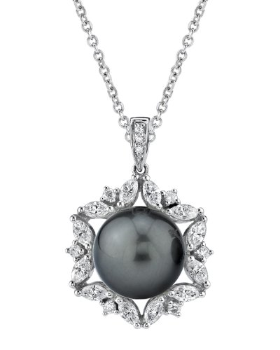 18K Gold Tahitian South Sea Pearl & Diamond Solar Pendant