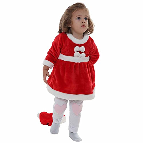 F&C Christmas Baby Girls Santa Claus Suit Costume Cosplay Santa Hat