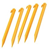 Generic 30.5cm Plastic Endurable Camping Awning Tent Stakes Pegs Pins 5pcs Yellow