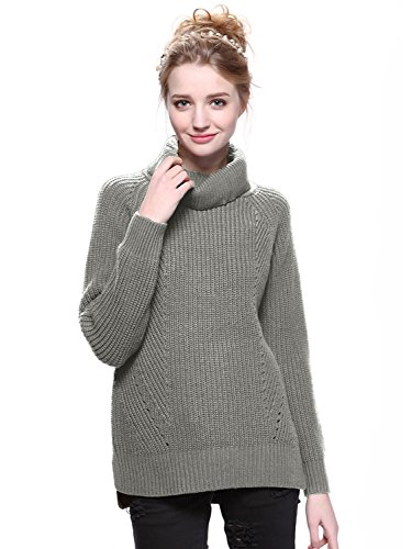 Clothink Women Gray Roll Neck Split Side Rib Knitted Pullover Jumper Sweater Tops XL