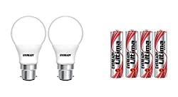 Eveready Base B22D 9-Watt LED Bulb (Pack of 2, Cool Day Light) with Free 4 AAA Alkaline Batteries