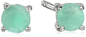 Sterling Silver 4mm Round Emerald Earrings