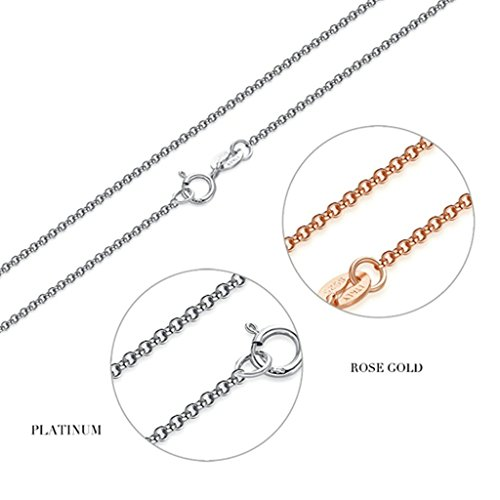 Beydodo Silver Plating Necklace(Pendant Necklaces) For Women 18 inch Rose Gold Italy Belcher Chain (Madonna Material Girl Fancy Dress)